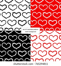 Collection of seamless pattern hand drawn heart. Doodle style comic background. Set vector wallpapers on Valentine's Day.