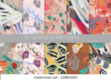 Collection of seamless patterns. Abstract design elements in set. Doodles with crayon and grunge texture roughly hand drawn.