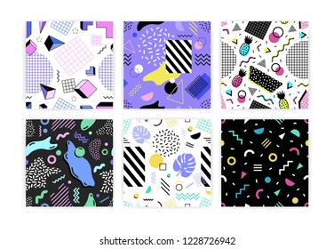 Collection of seamless patterns with leaves, geometric shapes, stripes and zigzag lines, pineapples. Vector illustration in retro 1980s or Memphis style for wrapping paper, textile print, wallpaper.