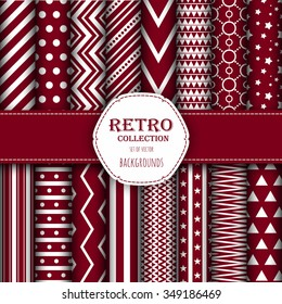 Collection of seamless patterns for wallpapers, pattern fills, web backgrounds, birthday and wedding cards. Red and white colors.