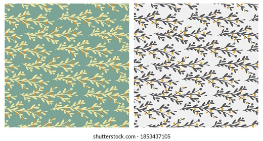 Collection of seamless patterns with winter plants and berries. Design for Christmas Holidays decoration, wrapping paper, print, fabric or textile. Vector illustration.