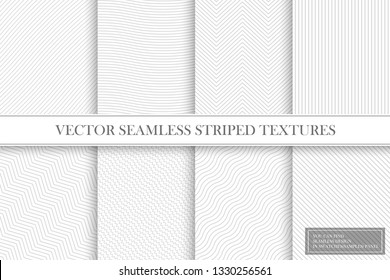 Collection of seamless striped textures - light gray design. Delicate fabric geometric patterns. You can find repeatable bakgrounds in swatches(samples) panel.