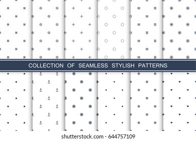 Collection of seamless stylish minimalistic patterns. Delicate design.