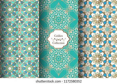 Collection of seamless turquoise and gold patterns.  Victorian damask seamless pattern. Golden vintage design elements. Elegant Decorative ornament for wallpaper, fabric, paper.