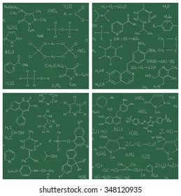 Collection of seamless vector backgrounds with chemistry formulas and equations on school board. Endless texture can be used for wallpaper, pattern fills, web page background, surface textures