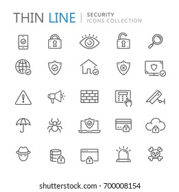Collection of security thin line icons