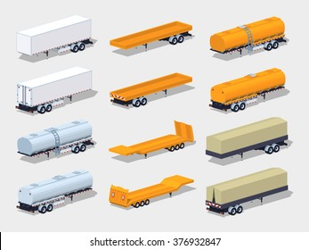 Collection of semitrailers. 3D lowpoly isometric vector illustration. The set of objects isolated against the white background and shown from two sides