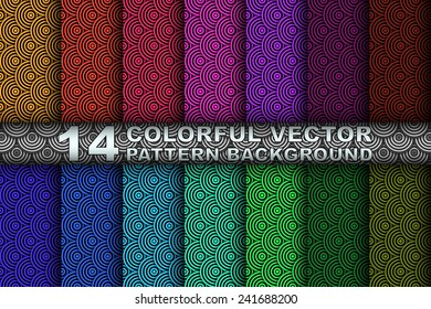 Collection Set of 14 Different Colored Vector Seamless Asian Wave Patterns Design