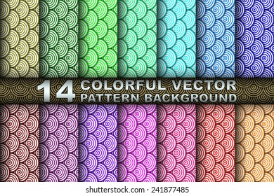 Collection Set of 14 Different Colored Vector Seamless Asian Wave Pattern