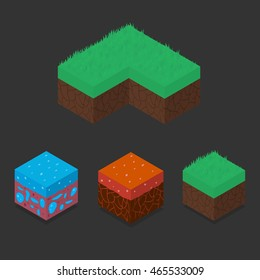 Collection set of 3D Isometric Landscape Cubes - Ground Grass, Water, Lava Element. Icon Can be used for Game, Web, Mobile App, Infographics. Game asset.