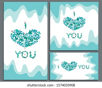 A collection or set of banners for social networks or web for Valentine's day or wedding. Square, horizontal and vertical banner in the format 1: 1, 9:16, 2560x1440 with a heart and green leafs
