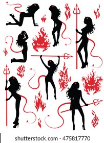 Collection set of beautiful sexy devil women.