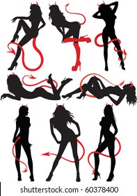 Collection set of beautiful sexy devil women, standing, sitting and laying down, resting. Black and red,silhouettes  isolated on white