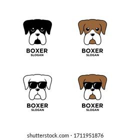 collection set boxer dog head logo icon design wear sunglasses