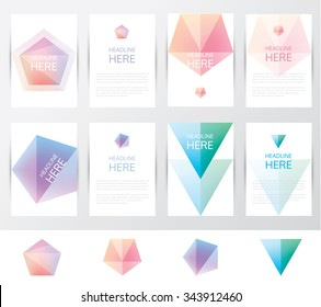 Collection set of brochure and letterhead template mockups with soft mesh crystal facets in geometric polygonal designs. Pentagonal and triangular shapes in soft gradient hues