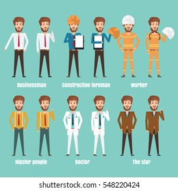 Collection set of businessman,construction foreman,worker,Doctor,hipster people,star. sprite  frame loop. Flat Character cartoon style. front view and haft front view. Simple design. Vector