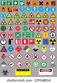 Collection set of chemistry and laboratory warning signs and warning icons