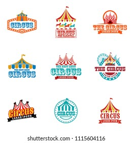 Collection set of circus design logo emblems template. Elements for label on the circus theme. Greatest show vector illustration