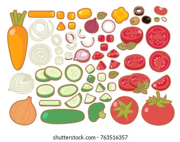 Collection set of clean organic tasty food, healthy salad, fresh vegetable salad, slices vegetable, chopped tomato, cucumber, carrot, onion, red onion, kidney bean isolated on white - Vector file