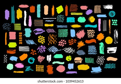 collection set of colorful bright dry paint brush marker ink stokes graphic elements textures