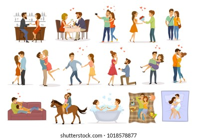 colección de parejas enamoradas en un abrazo abrazo besar tomar la mano tomar el baño, montar a caballo, dar flores, proposición matrimonial, caminar, dormir, comer en el restaurante y beber en el bar