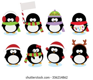 collection set of cute little penguins for christmas holidays