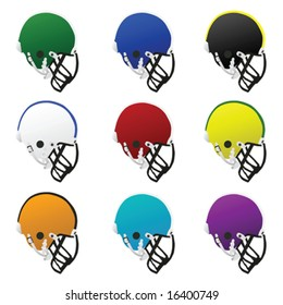 Collection set of different colored football helmets