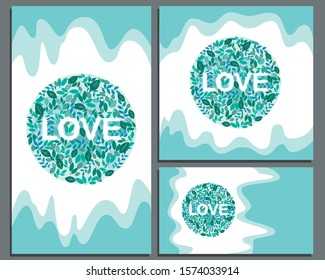 A collection or set with drips of paint of banners for social media for Valentine's day or wedding. Square, horizontal and vertical banner in the format 1: 1, 9:16, 2560x1440 with a heart and leafs