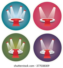 Collection set of empty illuminated white stages and podiums vector illustrations with red carpets