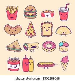 Collection Set of Fast Food, Junk Food, Street Food with cute kawaii face expressions. Handmade in doodle style - Vector EPS