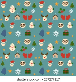 Collection and set  of funny christmas icons on background