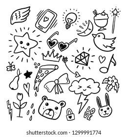 Kollektion Set handgezeichnete, süße Illustration - Vektor-EPS
