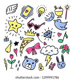 Collection Set of handdrawn doodle cute illustration  - Vector EPS