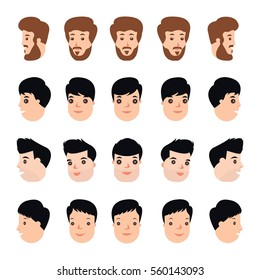 Collection set head turn to face of businessman. sprite frame loop. turn one's head . Active. Variety of movements. Flat Character cartoon style. Front view - side view. Simple design. Vector