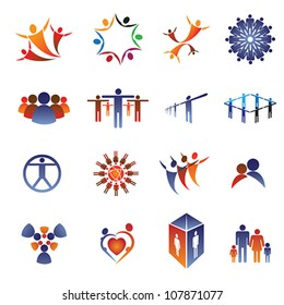 Collection set of icons and design elements related to community, office staff, family & business people. These colorful icons show concepts like teamwork, leadership, love, happiness, idea