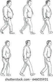 Collection set of illustration of an obese man morphing into a fit man viewed from the side set on isolated white background done in drawing sketch style.