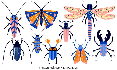 Collection set of insects isolated on white background. Hand drawn beetle, butterfly, moth, bug, cockroach, dragonfly. Cute colorful doodle. Fun multicolor drawing. Modern stock vector illustration