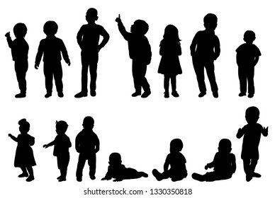 collection, set, kids, silhouette