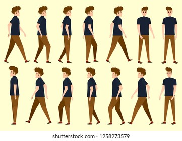 Collection set of man Walking. Undercut hairstyle. characters. sprite. frame loop. Walk. Variety of movements. Flat cartoon isolated style. front view, Oblique view, Side view. Simple design.