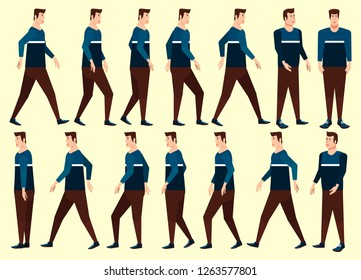 Collection set of man Walking. Undercut flat-top hairstyle. characters. sprite. frame loop. Walk. Variety of movements. Flat cartoon isolated style. front view, Oblique view, Side view. Simple design.