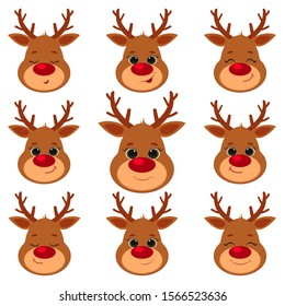 Collection, set of nine cute reindeer head isolated on a white background. Joyful, happy, sleeping, smiling. Cartoon, flat style, vector.