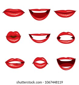Collection set of nine different red lips gesturing