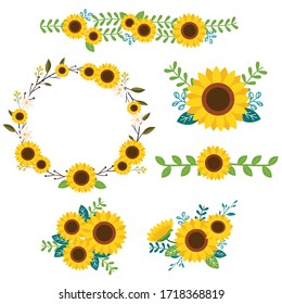 The collection of set and pattern  sunflower. illustation flat vector of sunflower for content, wedding , greeting card etc.
