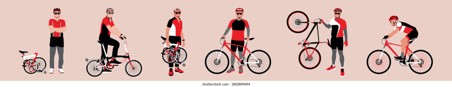 Collection set of people with bicycle. Set of cyclist with bike. People riding bicycle. People stand beside bicycle. People lift bicycle. bike and folding bike. Flat vector illustration.