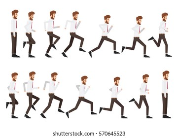 Collection set of running businessman. sprite frame loop. Run. Active. Variety of movements. Flat Character cartoon style. Side view. Simple design. Vector