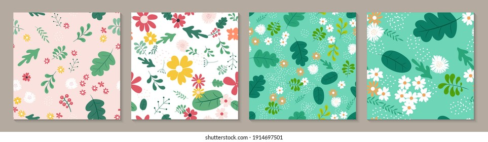Collection Set Seamless Pattern Background with Simple Flower Design Elements. Vector Illustration
