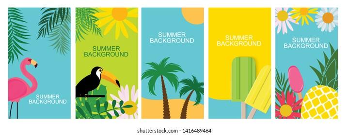 36e3662cb76 Collection set of social media stories design templates summer backgrounds.  Vector Illustration EPS10