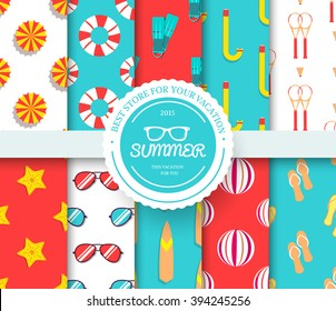 collection set of summer vacation seamless pattern. Beach umbrella, lifebuoy, diving, equipment, towel, ocean with label logo concept. Vector abstract template for greeting card or invitation design