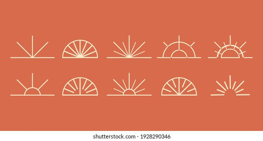collection set of sunset or sunrise. sun logo in boho style icon and symbol. vector element illustration for decoration in modern minimalist style. bohemian nature design.