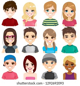 Collection set of twelve different group teenager people avatar portraits smiling